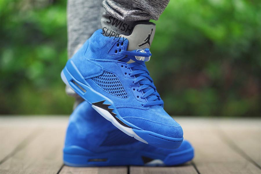 "Get your first on-foot look at the ""Blue Suede"" Jordan 5"