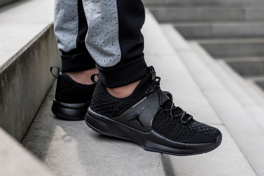 "The ""Triple Black"" Jordan Trainer 2 is available now"