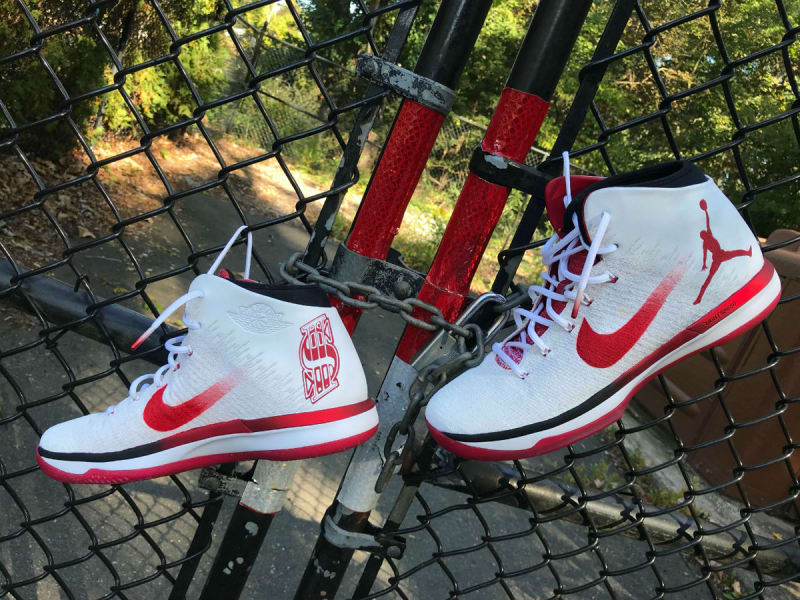 Peep Shane-o-Mac's custom Jordans from last night's Hell in a Cell