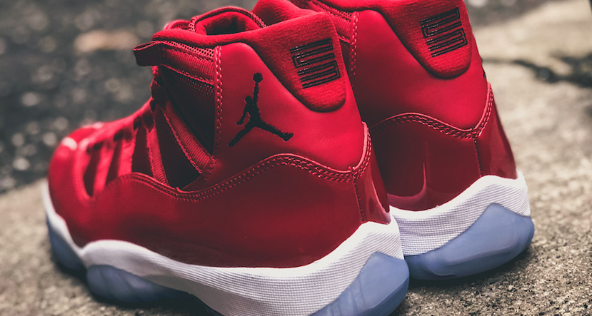 The Red Jordan 11's drop tomorrow