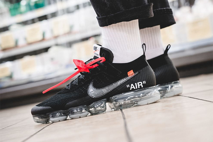On foot looks at this weekend's OFF-WHITE x Nike VaporMax