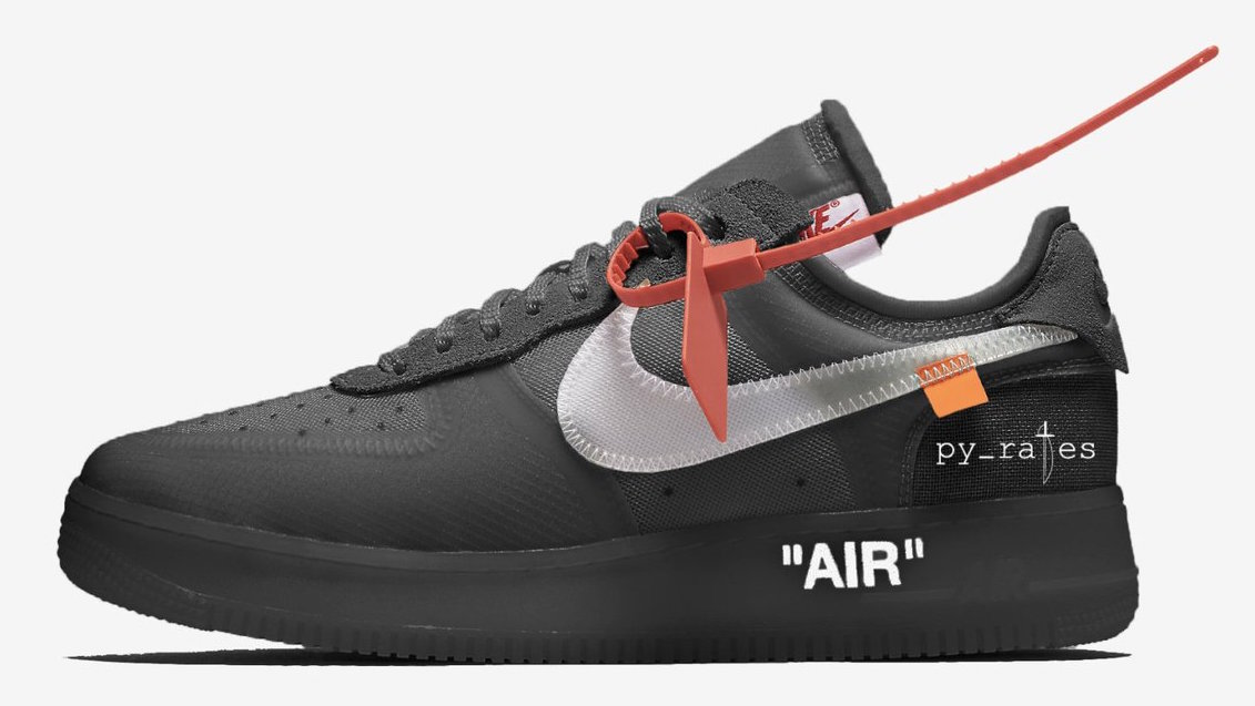 "Off-White x Nike Air Force 1 Low ""Black"" to hit stores in October."