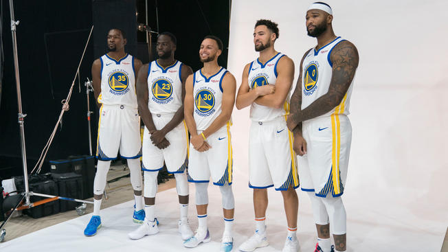 Seeing the Warriors Starting 5 at Media Day Just Makes You Hate Them Even More