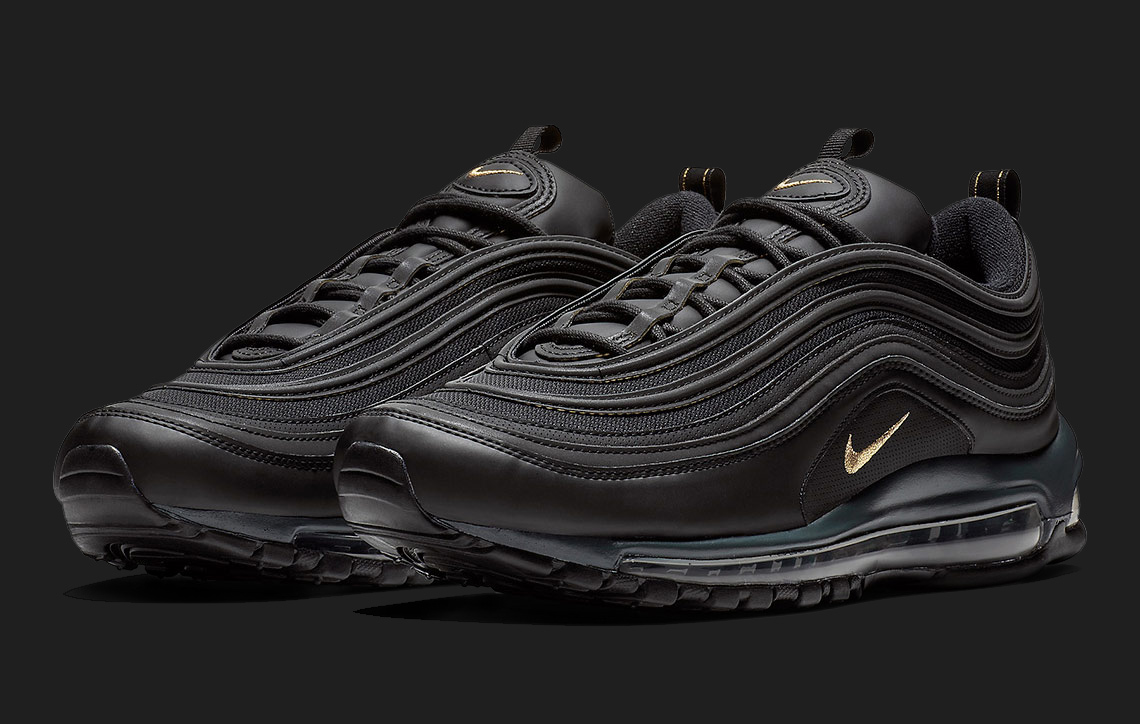 Available Now // Black and Gold Leather Air Max 97s